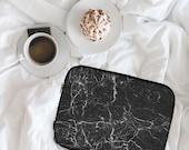 Split Black Marble Marble Print Marble Design Neoprene Laptop Sleeve MacBook Case Laptop Case Carry Case Laptop Bag  lspp020