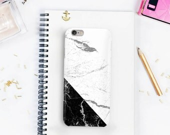 Split Black White Marble iPhone Case, Marble Print, Marble Pattern, Marble Rock, Phone Case Cover iPhone 7 iPhone 6 iPhone 5 \ hc-pp193