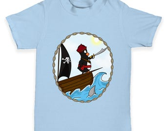 Pirate Guin The Penguin On Ship Baby Toddler T-Shirt
