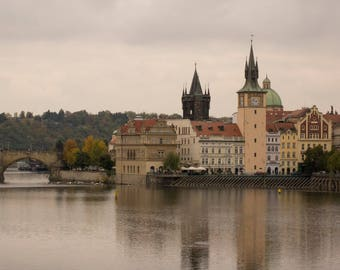 Vltava river, Charles Bridge and Lavka Restaurant in Prague