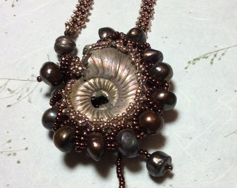Ammonite Necklace, Woven Necklace, Beaded Necklace, Fossil Necklace, Ocean Theme Necklace
