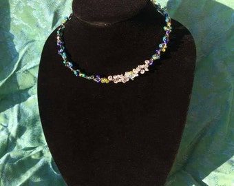 Beach Glass Beaded and Crystal Faerie Dust Necklace