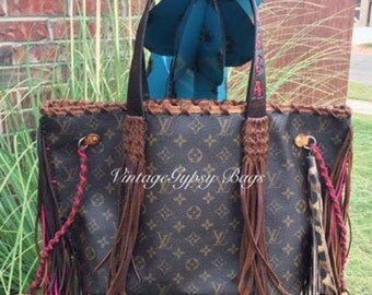 In love with this bag! LV, fringe, tooled straps, leopard, and hot pink!