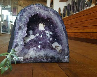 Amethyst with calcite geode