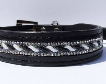 Black Leather Dog Collar with Bling