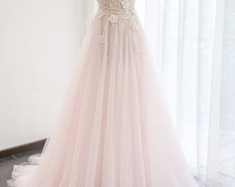 Pink wedding dress etsy wedding dressa junglespirit