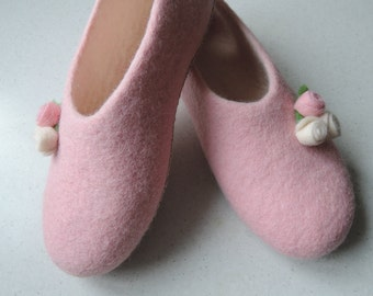 felted slippers  home felt shoes women gift for her  Woolen clogs natural wool