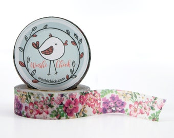 Pink and Purple Floral Washi tape - with greenery