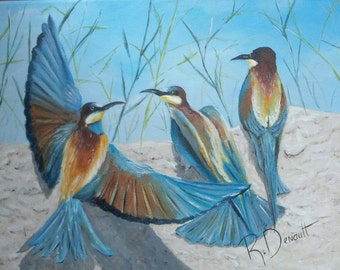 Blue Birds by the Seashore - Original Oil Painting on Stretched Canvas