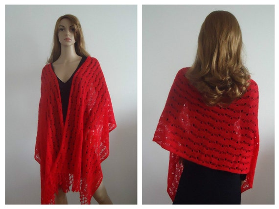 Red mohair wrap cover up gift Ready to Ship Hand knitted Accessory Romantic  Cape Shawl Shrug Handmade Gifts
