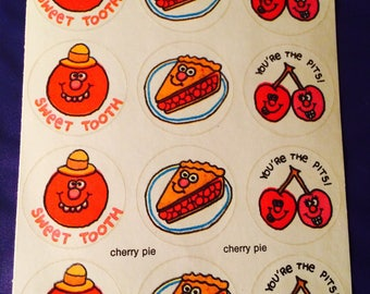 Vintage - Sniff STICKERS - Scratch & sniff stickers 90 cherry s / sticker - scratch and feel cherry vintage