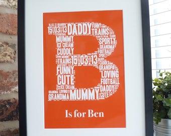 Personalised Initial Print, Personalised Name Print, Word Art Print, Unframed Print, Personalised Print, Initials