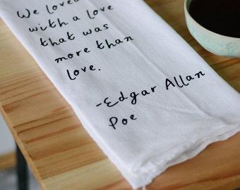Edgar Allan Poe, Book Nerd, Tea Towel, Potato sack towel, Flour Sack Towel, Nerd Decor, Kitchen Decor, Tea bar