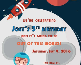 Space Theme Birthday Invite, Outer Space, Astronaut, Moon, Space Ship, Rocket