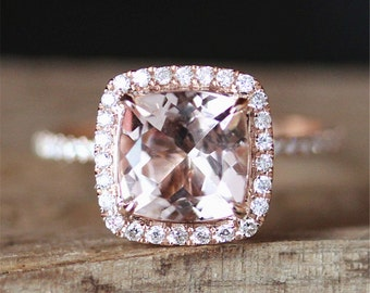 Classical Morganite Engagement Ring VS 8mm Cushion Cut Morganite Ring Halo Diamonds Ring Half Eternity Stackable Ring 14K Rose Gold Ring