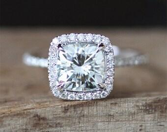 2ct Moissanite Engagement Ring 7.5mm Cushion Cut Forever Brilliant Moissanite Ring Diamonds Halo 3/4 Eternity Diamonds 14K White Gold Ring