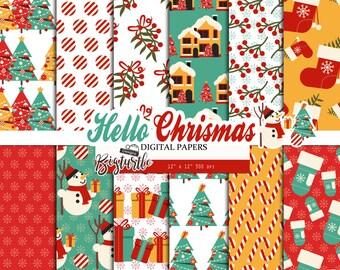 50% OFF SALE  Hello  Christmas Digital Paper pack, Snow digital paper, winter digital paper, Scrapbook Paper, Printable Background, 12 JPG.