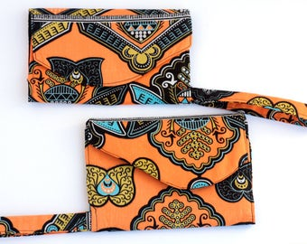 African Wallet Wristlet, Small Cloth Wallet, Small Ankara Wristlet, Womens Small Wallet, Boho Wallet, Bridesmaid Gift, Phone Wallet Wristlet