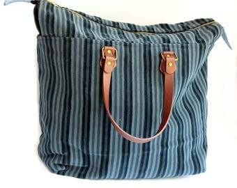 Mary Poppins Carpet Bag, Striped Upholstery Purse, Large Roomy Upcycled Purse, Carpet Handbag, Tapestry Purse