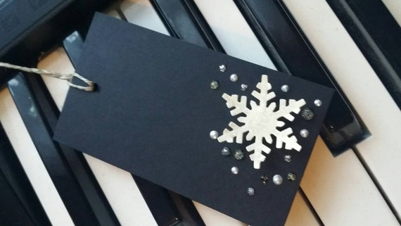 Set of 10 - Handmade Snowflake Gift Tags for Winter