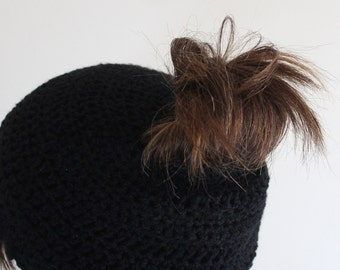 Messy bun hat, Ponytail hat, Messy bun beanie, Ponytail beanie, Womens messy bun hat, Black messy bun hat, Ready to ship,