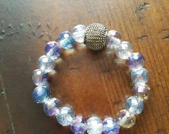 Purple crystal kid beaded bracelet