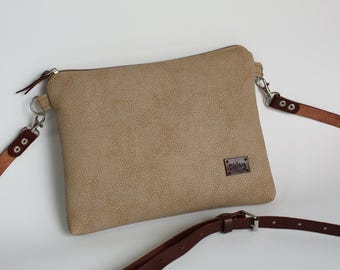 Beige handbag for women Crossbody bag Gift for her Mothers gift Casual Purse Leather Vegan leather bag For her - model BWS beige