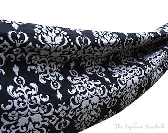Small Single Hammock. Retro Black and White Baroque Style Hammock, Fabric hammock.  Garden, Veranda, Indoor Hammock. Boho Hammock.