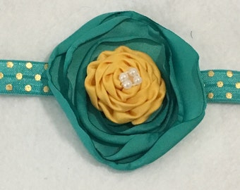 Girls Headbands, Photo Props, Head accessories, Teal and Gold Headband