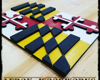Wooden Maryland Flag, Wall Hanging, 3D, Wall Art