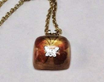 Butterfly resin necklace, Butterfly charm necklace hand made in USA