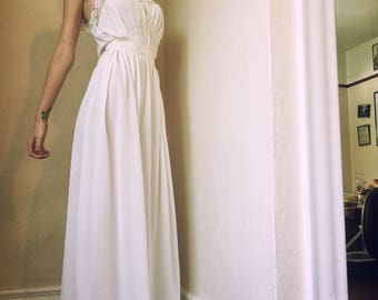 1940s Floor Length White Silk Slip with Lace Trim Pin Up Bridal Gilda