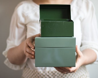 Vintage Green Recipe Card Boxes, Vintage Metal Recipe Boxes, Vintage Metal Index Card Boxes   Set of 2
