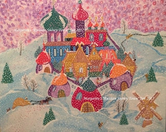 "Slavic Naive Art ""A Russian Snowy Town"""