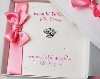 LUXURY Little Princess First Birthday Card,  PERSONALISED Birthday Card, HANDMADE Boxed Card, 1st Birthday Card, Granddaughter, Daughter,