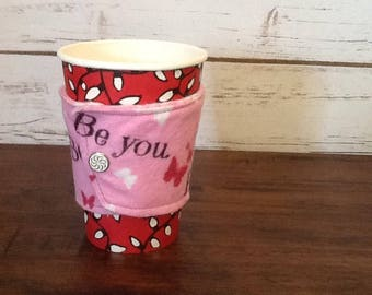 Cute Coffee Cozy for Her, Reusable Cup Cozy, Reversible Drink Sleeve, Eco Friendly Gifts, Eco Drink Sleeve, Fabric Cup Cozy, Gift for Her