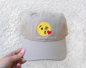Emoji Baseball Hat, Dad Hat, Tan Emoji Baseball Hat, Kiss Emoji Baseball Hat, Khaki Baseball Hat , Wink Emoji Baseball Hat, Emoji Dad Hat