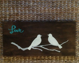 Love Birds, nursery decor, reclaimed wood sign, home decor, child room decor
