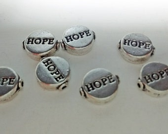 7 Silver Hope Beads : Jewelry Making Findings - Small Hole Beads - Breast Cancer - #140