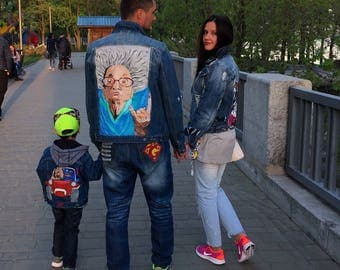 Hand painted denim jacket Jacket with painting Jacket with art work on it Art on denim Denim jean Jacket with art pop-art Summer art Drawing