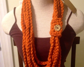 Crochet necklace, crochet necklace with button, crochet scarf necklace, scarf necklace