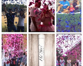 "SALE 24"" XXL Confetti Cannon Gender Reveal Confetti Cannon Smoke Bomb Alternative"