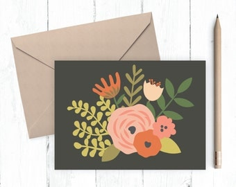 Pretty Floral Greeting Card A2 size card blank inside vintage floral design pink coral black shabby chic instant download printable card