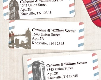 "Printable Vintage British London Airmail Address Labels - White, Personalized 2 5/8"" x 1"" Address Labels, Editable PDF, Instant Download"