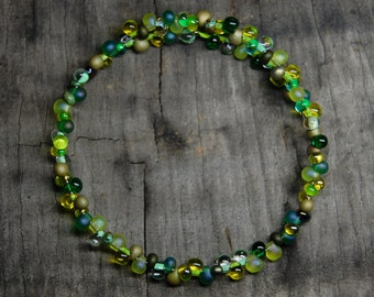 green glass drop bracelet