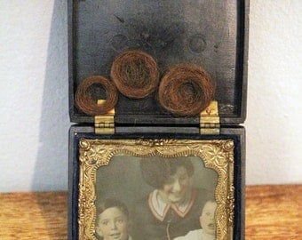 Antique Color Ambrotype with locks of Hair