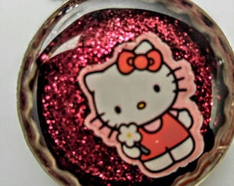 Hello Kitty Bottle Cap Resin Necklace