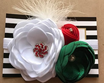 Simply Gorgeous Christmas Headband - Baby Girl Photo Prop Satin Bow - Dressy Red,White & Green Little Girl's Holiday Headband