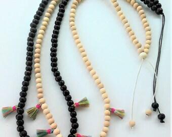 Tiny Tassels Wooden Necklace -Meditation Necklace - Collar de madera-Wooden Jewelry - tassel necklace - japa mala- Handmade jewelry