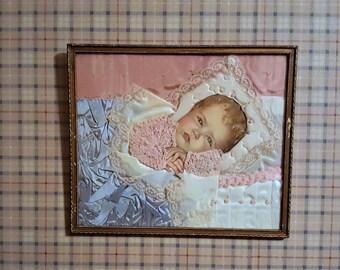 Half Price Victorian Craft Baby Art Collage Silk Fabric Lace  Collage Knitted Yarn Detail Vintage Craft Work Nursery Deco Baby Shower Gift